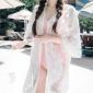 韩国浪漫透明罩衫透视华丽雕花百搭蕾丝衫超上镜甜美比基尼外套